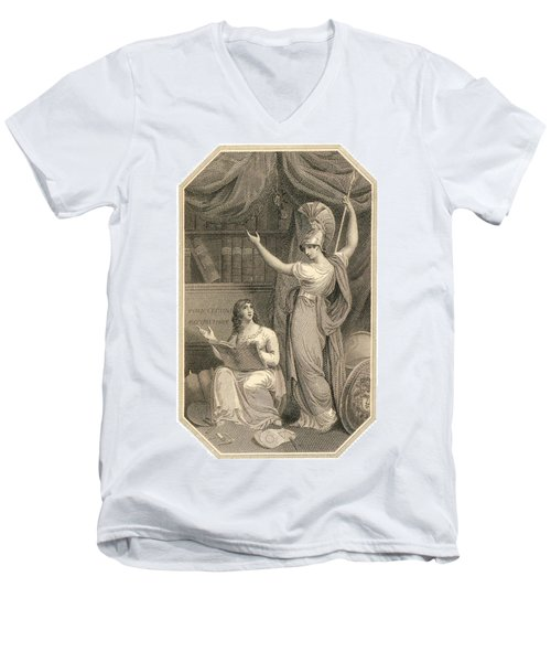 Minerva Directing Study To The  Attainment Of Universal Knowledge Men's V-Neck T-Shirt