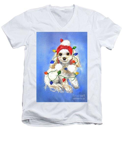 Mocha Merry And Bright Men's V-Neck T-Shirt