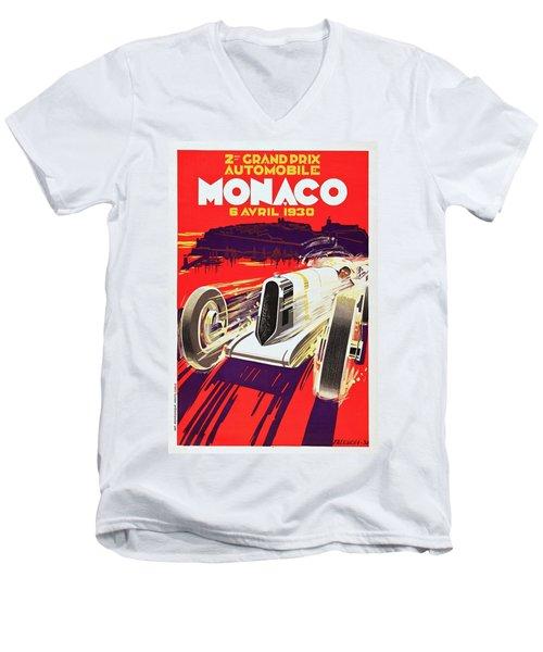 Monaco Grand Prix 1930, Vintage Racing Poster Men's V-Neck T-Shirt