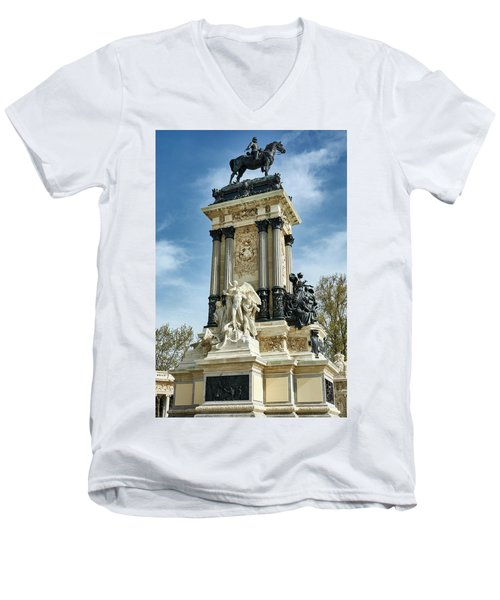 Monument To King Alfonso Xii At Retiro Park In Madrid, Spain Men's V-Neck T-Shirt