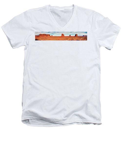 Men's V-Neck T-Shirt featuring the photograph Monument Valley Panorama by Andy Crawford