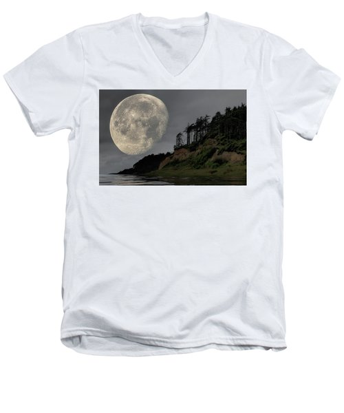 Moon And Beach Men's V-Neck T-Shirt
