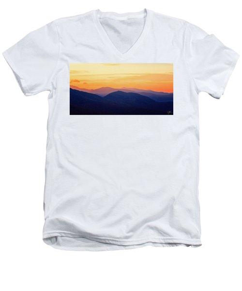 Mountain Light And Silhouette  Men's V-Neck T-Shirt