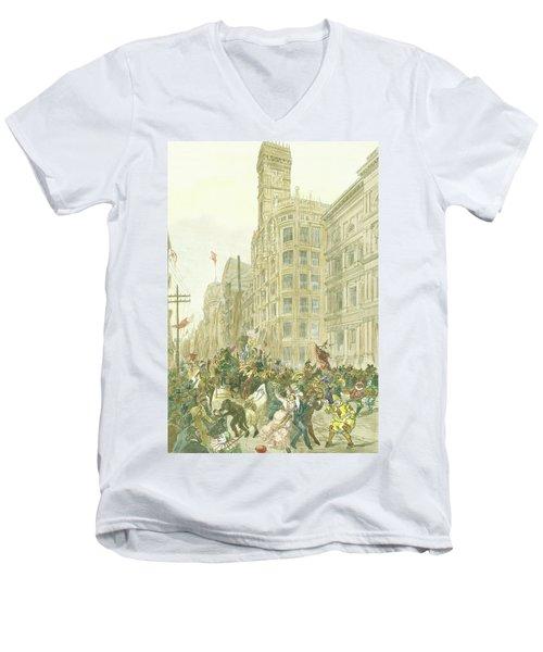 New Years Mummers On Chestnut Street Men's V-Neck T-Shirt