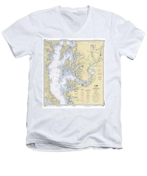 Chesapeake Bay, Cove Point To Sandy Point Nautical Chart Men's V-Neck T-Shirt