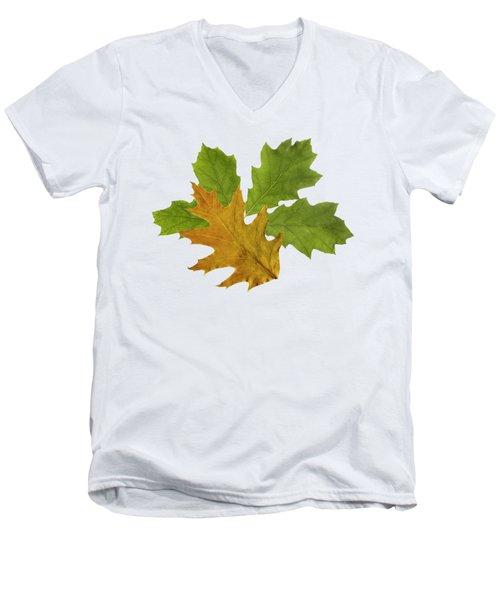 Oak Leaves Pattern Men's V-Neck T-Shirt