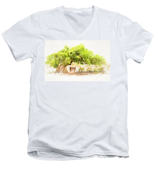 Old Leaning Tree At Sandy Hill  Anguilla Men's V-Neck T-Shirt