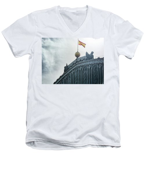 Men's V-Neck T-Shirt featuring the photograph On Top Of The Puerta De Atocha Railway Station by Eduardo Jose Accorinti