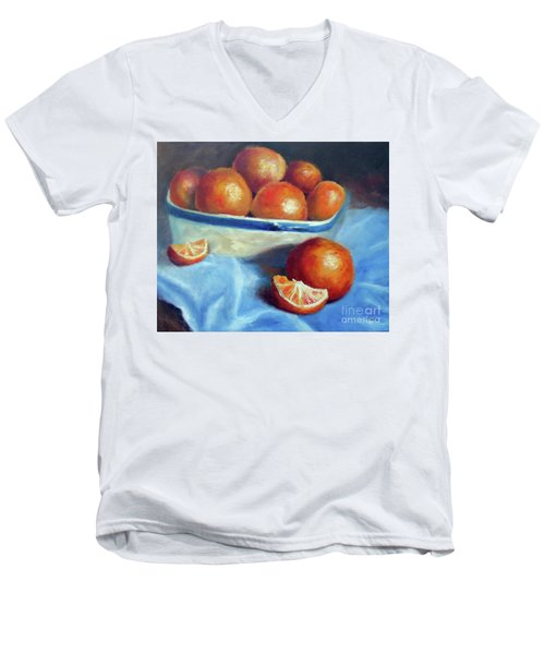 Oranges And Blue Men's V-Neck T-Shirt