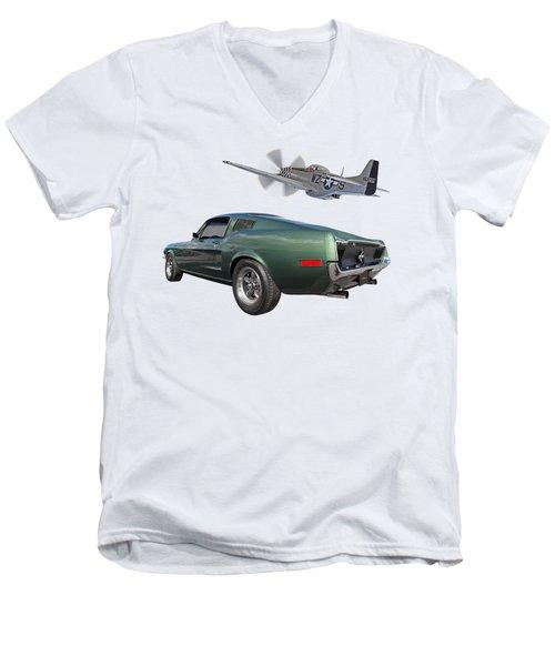P51 With Bullitt Mustang Men's V-Neck T-Shirt
