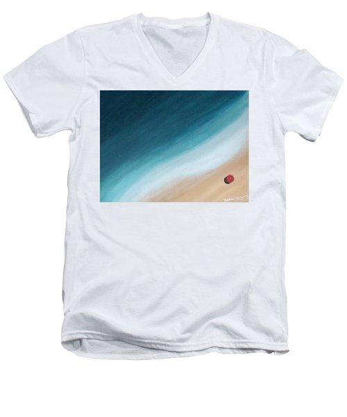 Pacific Ocean And Red Umbrella Men's V-Neck T-Shirt