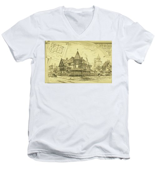 Pair Of Twin Cottages, Hastings Square, Spring Lake, Nj Men's V-Neck T-Shirt