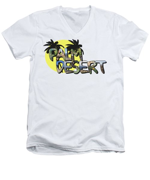 Palm Desert Large Letter With Moon Men's V-Neck T-Shirt