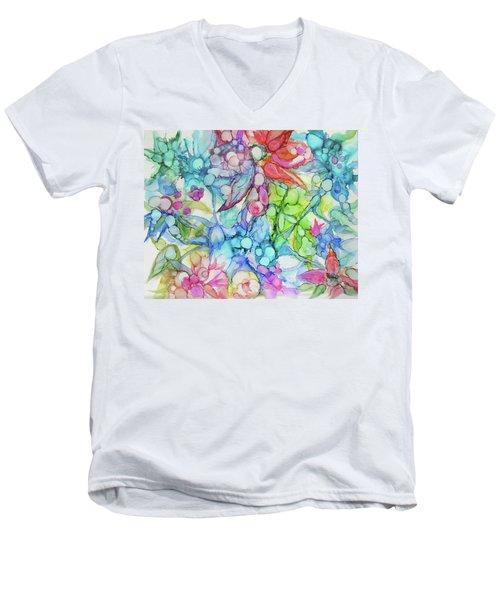Pastel Flowers - Alcohol Ink Men's V-Neck T-Shirt