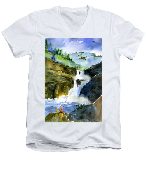 Petroglyph Falls Fishing Men's V-Neck T-Shirt