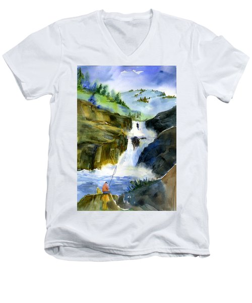Petroglyph Falls Fishing Men's V-Neck T-Shirt