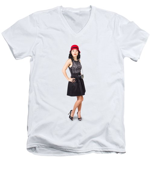 Pin Up Lady With Retro Film Camera Men's V-Neck T-Shirt