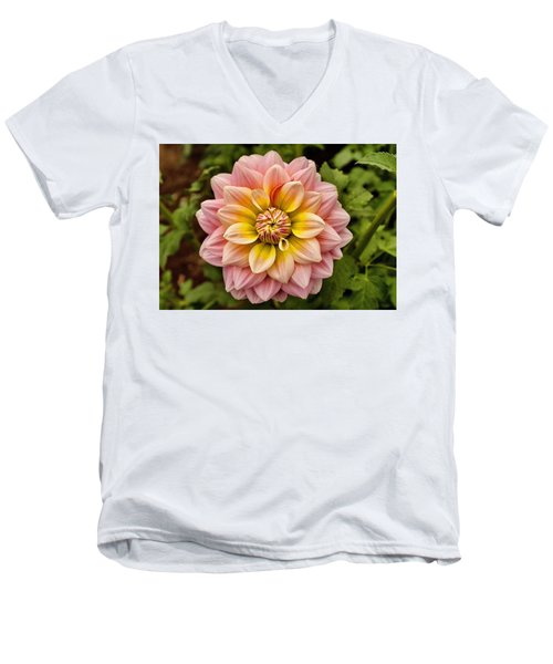 Pink And Yellow Men's V-Neck T-Shirt