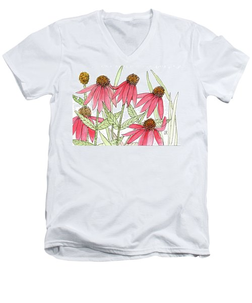 Pink Coneflowers Gather Watercolor Men's V-Neck T-Shirt