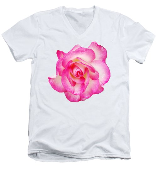 Pink Halo Rose Men's V-Neck T-Shirt