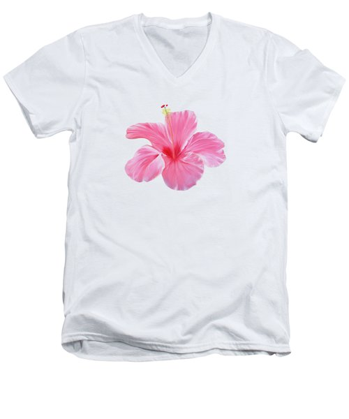 Pink Hibiscus Men's V-Neck T-Shirt