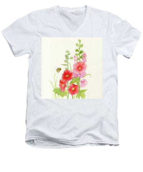 Pink Hollyhock Watercolor Men's V-Neck T-Shirt