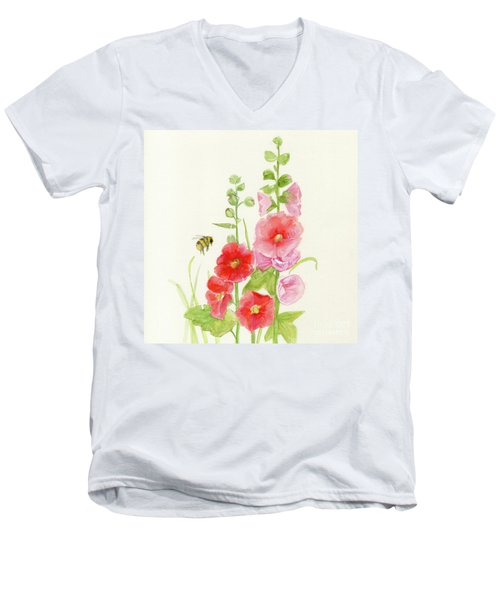 Pink Hollyhock Watercolor Men's V-Neck T-Shirt