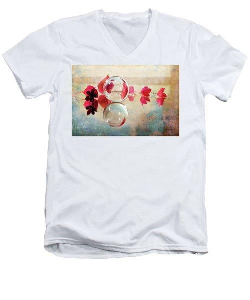 Men's V-Neck T-Shirt featuring the photograph Pink Line by Randi Grace Nilsberg