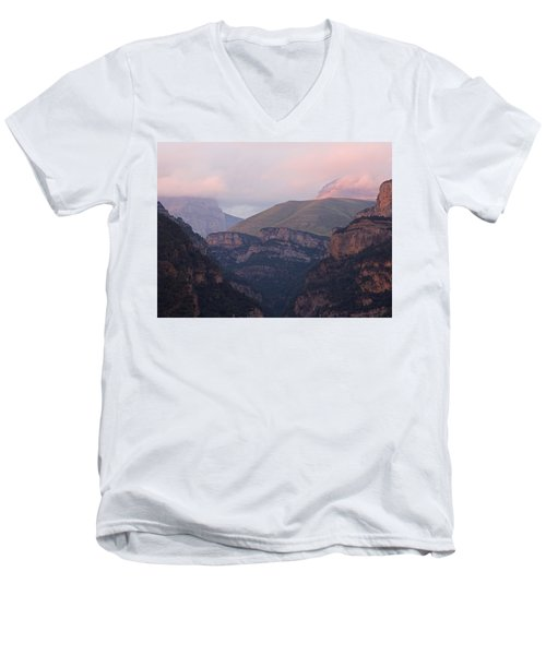Pink Skies In The Anisclo Canyon Men's V-Neck T-Shirt