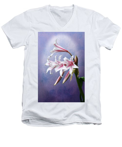 Pink Striped White Lily Flowers Men's V-Neck T-Shirt