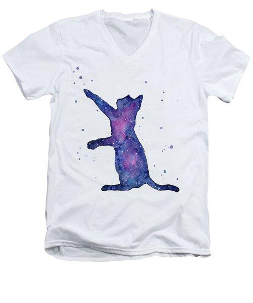 Playful Galactic Cat Men's V-Neck T-Shirt