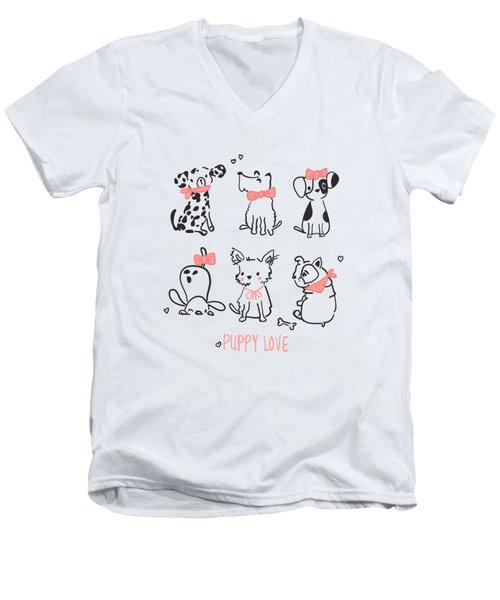 Puppy Love - Baby Room Nursery Art Poster Print Men's V-Neck T-Shirt