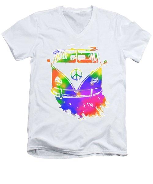 Rainbow Colored Peace Bus Men's V-Neck T-Shirt