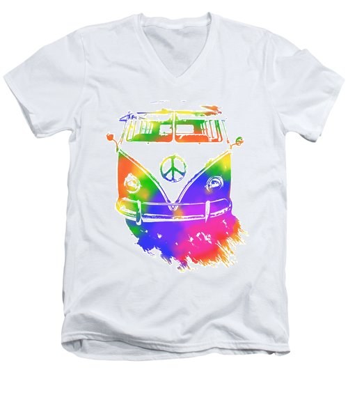 Rainbow Colored Peace Bus Men's V-Neck T-Shirt