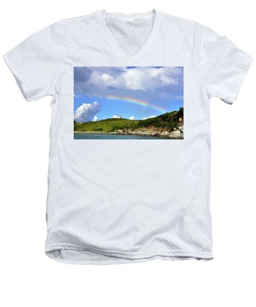 Rainbow Over Buck Island Lighthouse Men's V-Neck T-Shirt