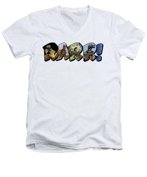 Rarr Big Letter Dinosaurs Men's V-Neck T-Shirt
