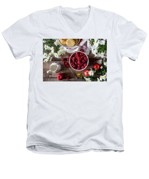 Raspberry Breakfast Men's V-Neck T-Shirt