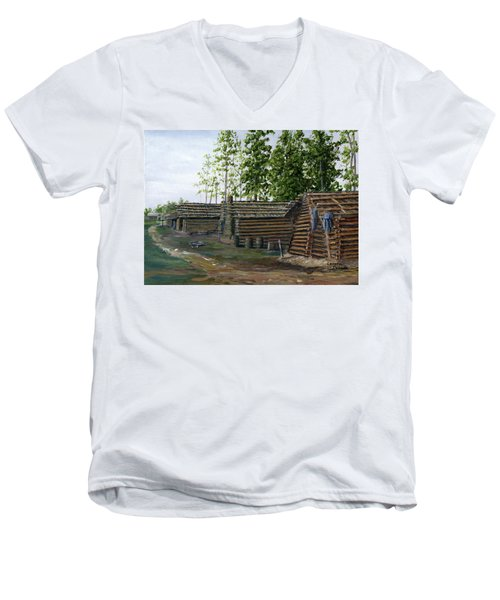 Rebel Huts, Port Hudson, Louisiana 1863 Men's V-Neck T-Shirt