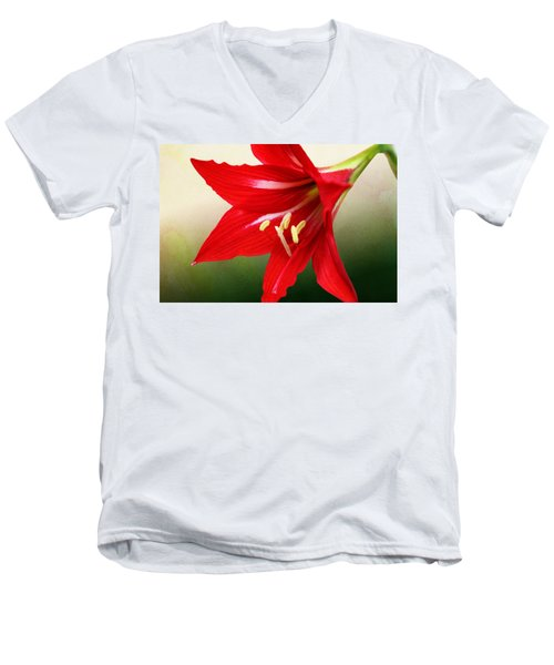 Men's V-Neck T-Shirt featuring the photograph Red Lily Flower by Debi Dalio