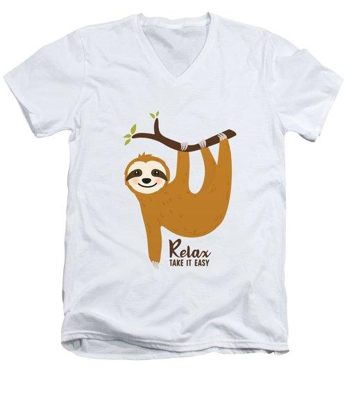 Relax Take It Easy - Baby Room Nursery Art Poster Print Men's V-Neck T-Shirt