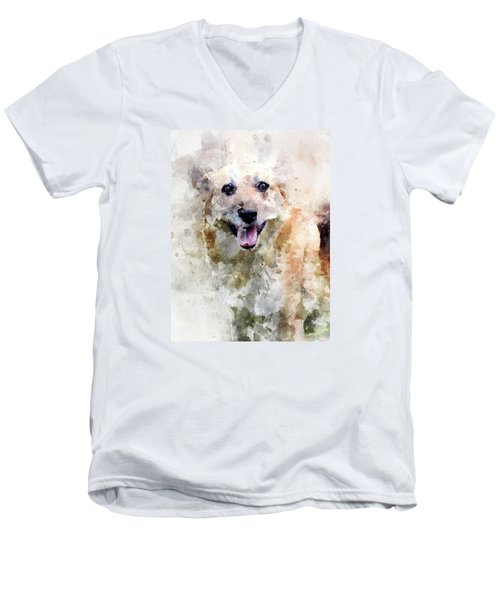 Men's V-Neck T-Shirt featuring the digital art Remember The Four-legged Smile by Eduardo Jose Accorinti