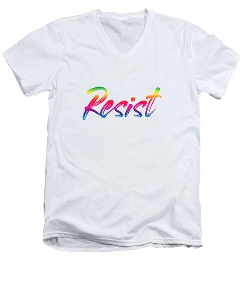 Resist - Rainbow On White Men's V-Neck T-Shirt
