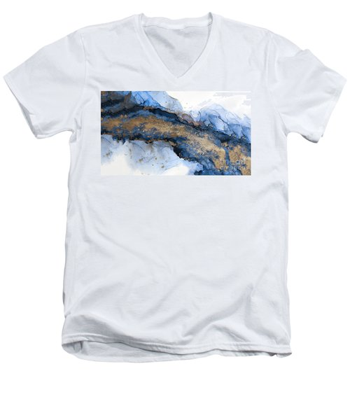River Of Blue And Gold Abstract Painting Men's V-Neck T-Shirt