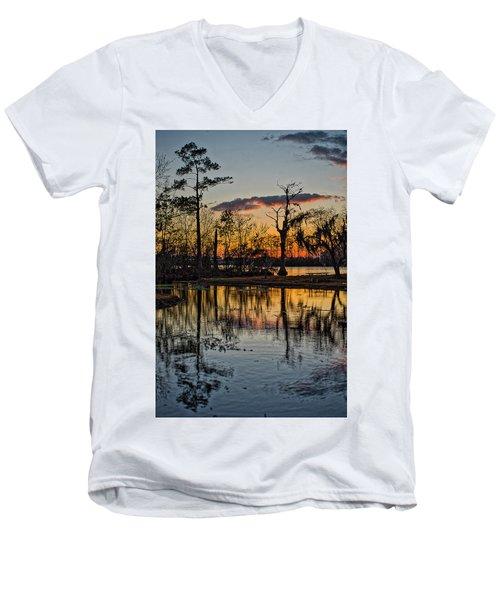 Riverside Sunset Men's V-Neck T-Shirt