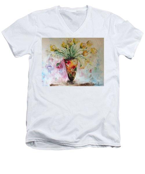 Roses In Vase Men's V-Neck T-Shirt