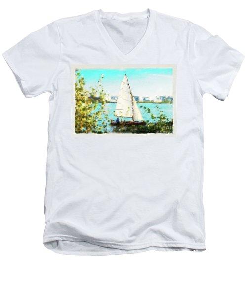 Sailboat On The River Watercolor Men's V-Neck T-Shirt