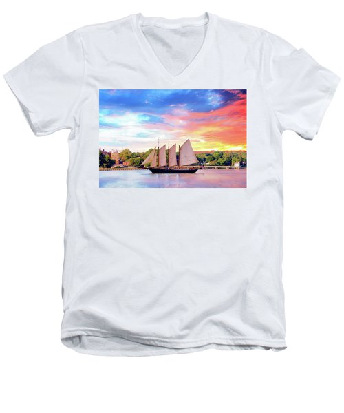 Sails In The Wind At Sunset On The York River Men's V-Neck T-Shirt