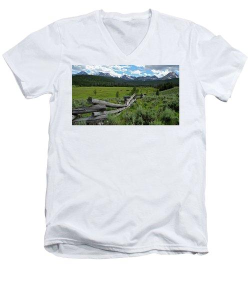 Sawtooth Range And 1975 Pole Fence Men's V-Neck T-Shirt