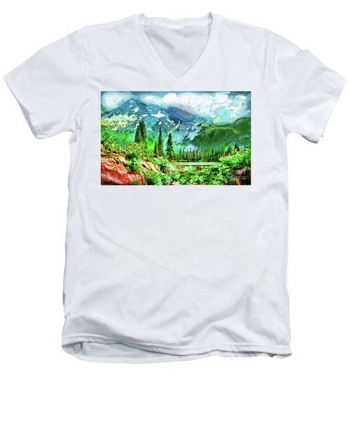 Scenic Mountain Lake Men's V-Neck T-Shirt
