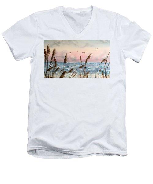 Sea Oats And Seagulls  Men's V-Neck T-Shirt
